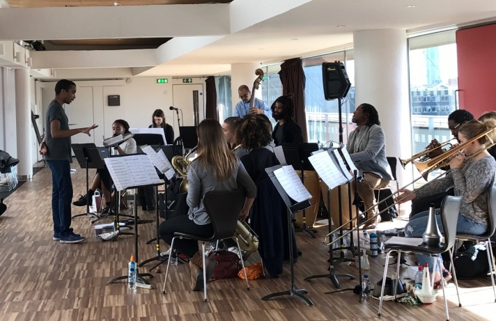 Peter Edwards rehearses Nu Civilisation Orchestra at Southbank Centre