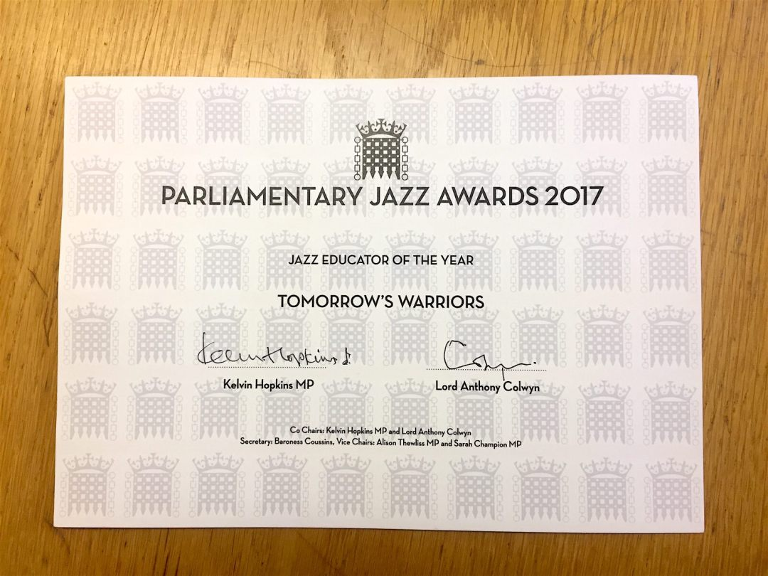 Tomorrow's Warriors Parliamentary Award 2017