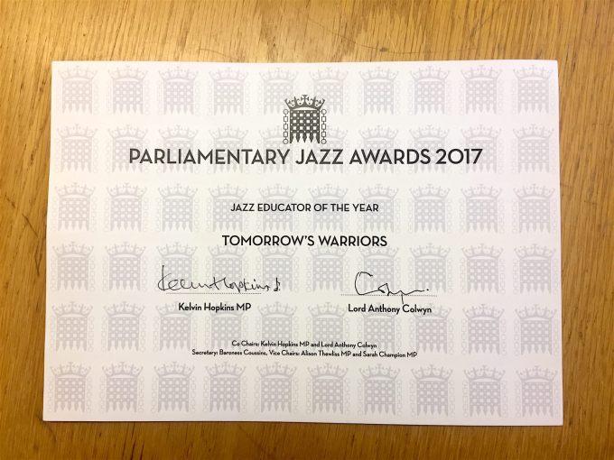 Tomorrow's Warriors Parliamentary Award 2017