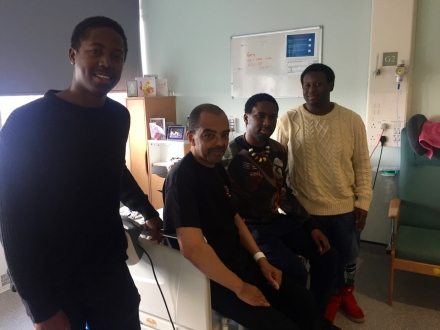 Gary Crosby in hospital with Moses Boyd, Theon & Nathaniel Cross