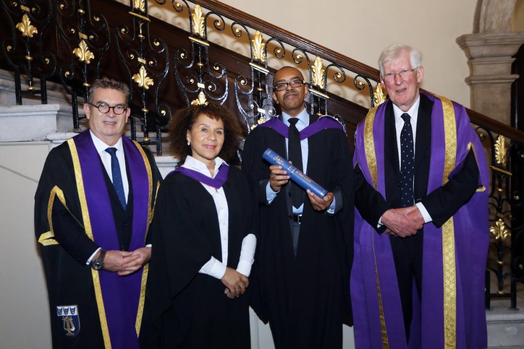 Prof Anthony Bowne, Chi-Chi Nwanoku OBE, Gary Crosby OBE, Dr Geoffrey Copeland CBE