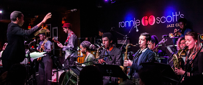 Nu Civilisation Orchestra conducted by Peter Edwards at Ronnie Scotts-photo by Carl Hyde