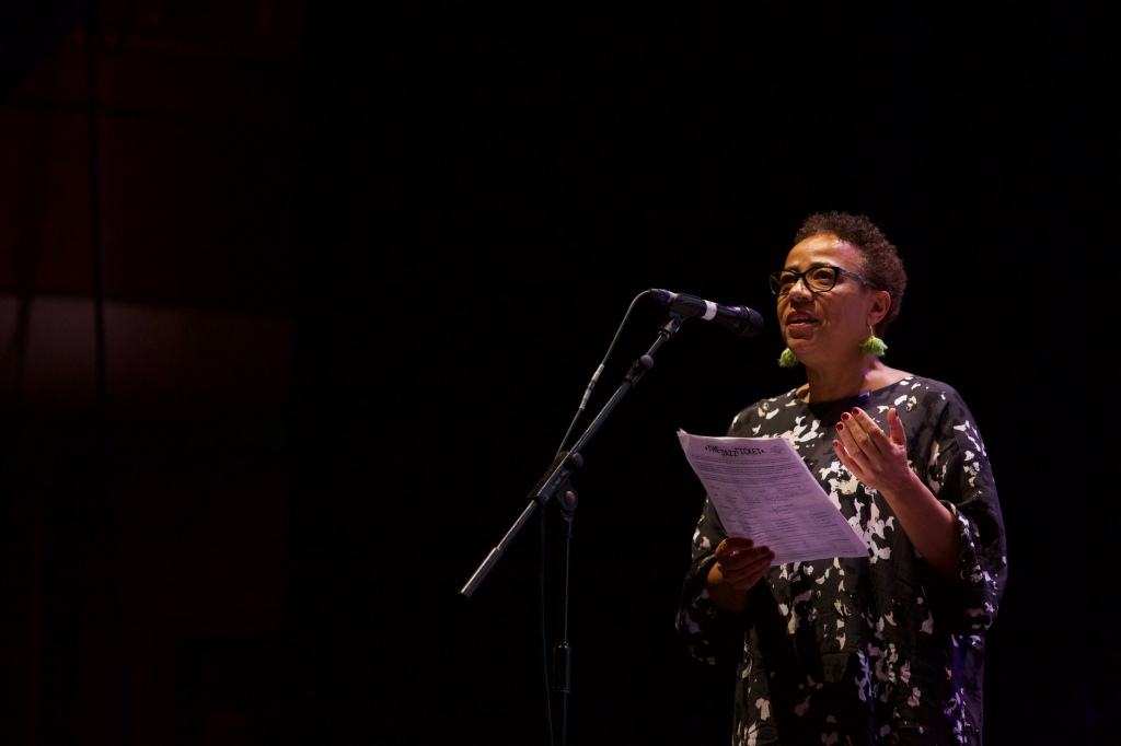 Janine Irons addresses the audience at The Brighton Dome